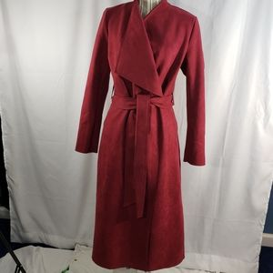 Just Fab NWOT Maroon Faux Suede Wrap Coat